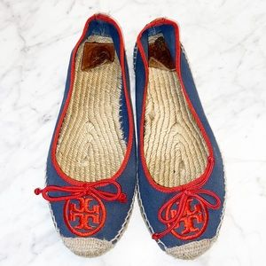 Tory Burch Ballet Espadrille Canvas Embroidered Logo Flats Size 9 Navy Red